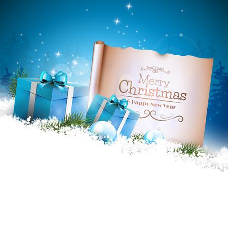 Kerst achtergrond met blauwe geschenk dozen en oud papier in de sneeuw en met lege ruimte voor uw tekst Stock Illustratie