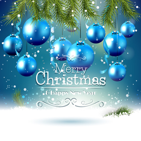 Karácsonyi üdvözlőlap kék dísz és ágak a hóban Illusztráció