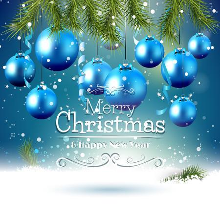 Vánoční blahopřání s modrými ozdoby a pobočky ve sněhu
