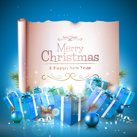 Luxe kerst wenskaart met blauwe geschenk dozen en oud papier
