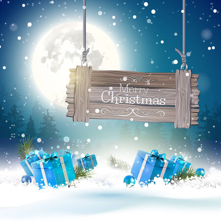 xmas decoration: Christmas greeting card with blue gift boxes in the snow and wooden sign Illustration