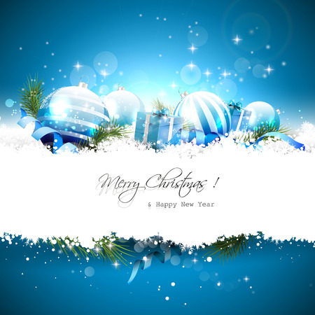 Christmas greeting card with baubles, gift boxes and ribbons in the snow