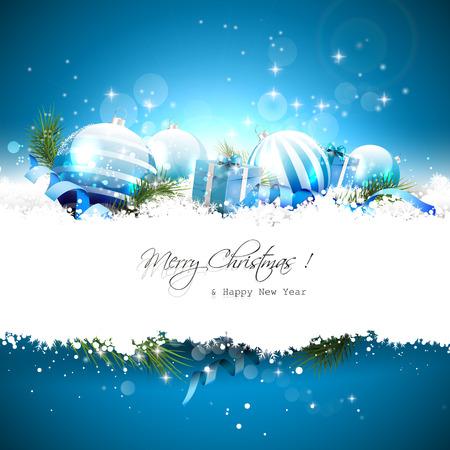 Carte de voeux de Noël avec des boules, coffrets cadeaux et de rubans dans la neige