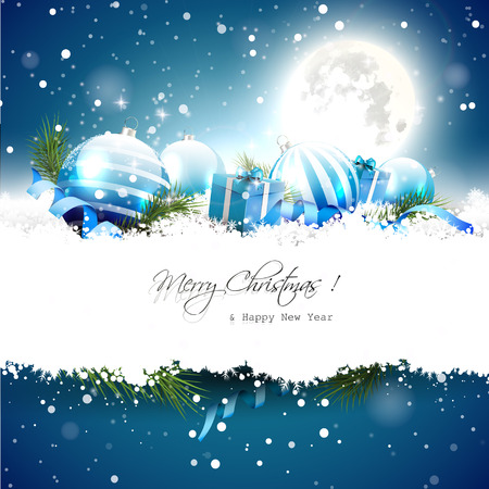 blue christmas background: Christmas night - greeting card with decorations in the snow