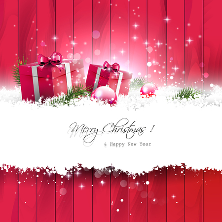 Red Christmas greeting card with gifts in the snow and place for your text Vectores