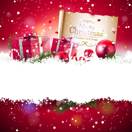 Christmas background with red gift boxes and old paper in the snow and with empty space for your text Vectores