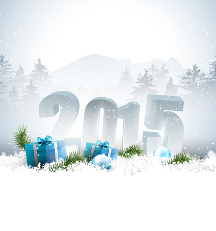 New Year 2015 greeting card with numbers in the snow