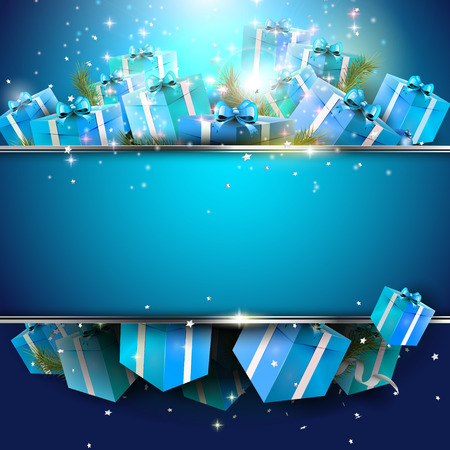 Luxury blue Christmas background with gift boxes and place for your message