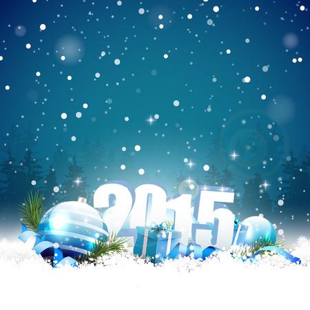 nieuwjaar: Nieuwjaar 2015 wenskaart Stock Illustratie