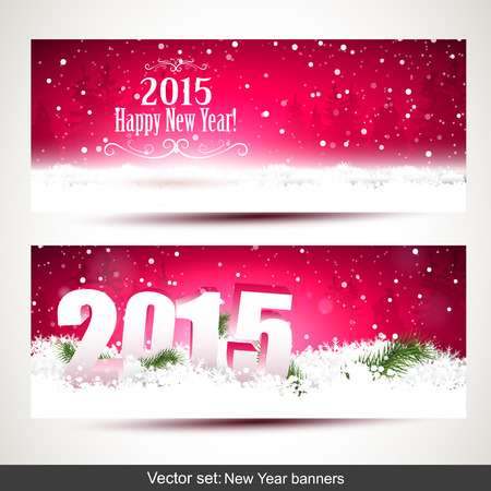 time of the year: Vector set of two New Year banners