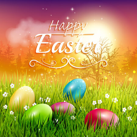 the egg: Colorful Easter greeting card with eggs in the grass