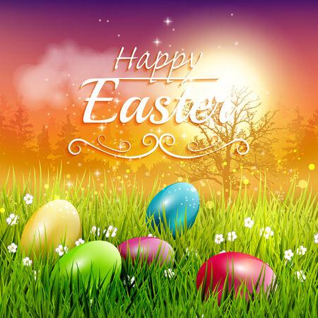 huevo: Tarjeta colorida de felicitaci�n de Pascua con huevos en la hierba