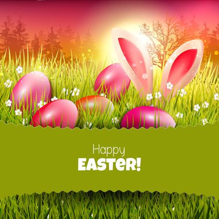 arbol de pascua: Tarjeta de felicitación de Pascua con huevos en la puesta del sol y el lugar de texto