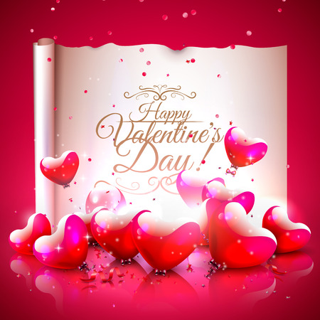 Modern valentines day greeting card with glossy heart shaped modern valentines day greeting card with glossy heart shaped balloons and old paper with calligraphic m4hsunfo