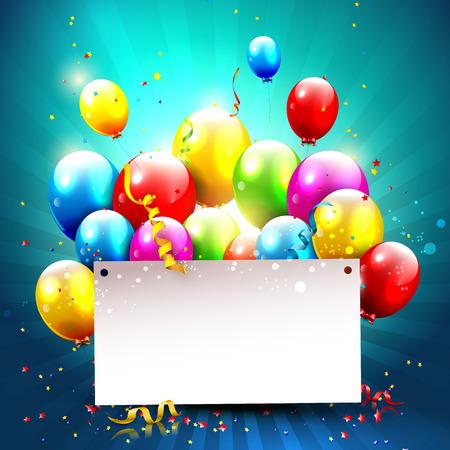 Kleurrijke ballonnen en lege papier op blauwe achtergrond Stock Illustratie
