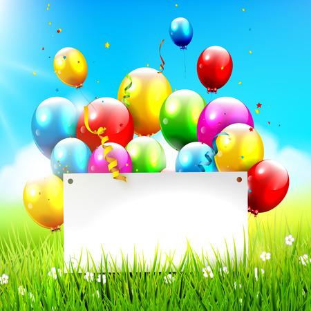 Kleurrijke ballonnen en lege papier op zonnige landschap