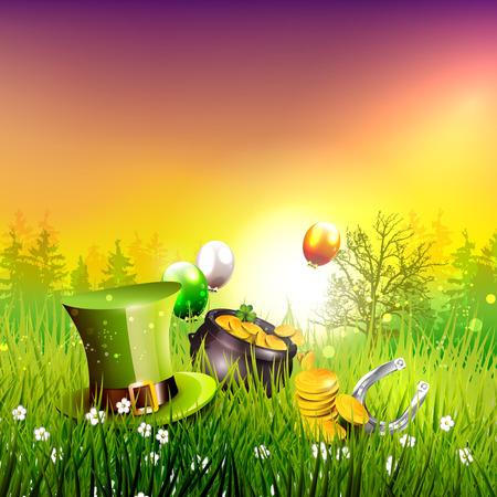 St. Patrick's Day - achtergrond met hoed, pot en munten in het gras bij zonsondergang