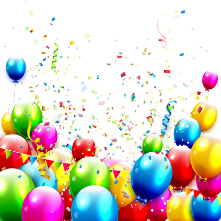Colorful balloons and confetti on white background