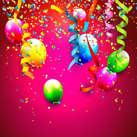 serpentinas: Fondo de cumpleaños con confeti de colores y globos