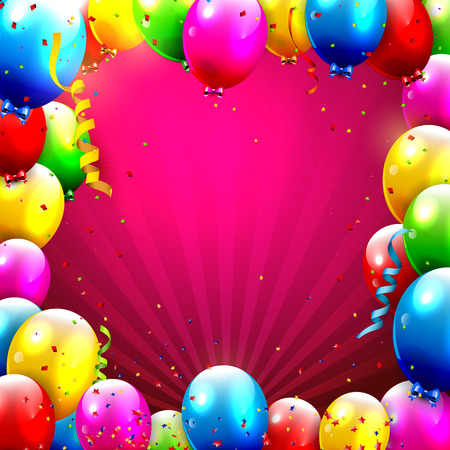 Birthday background with colorful confetti and balloons and place for your text