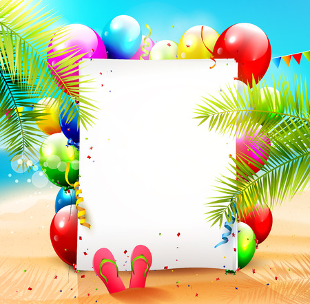 Summer beach party background with empty paper and colorful balloons on the beach Stock Illustratie