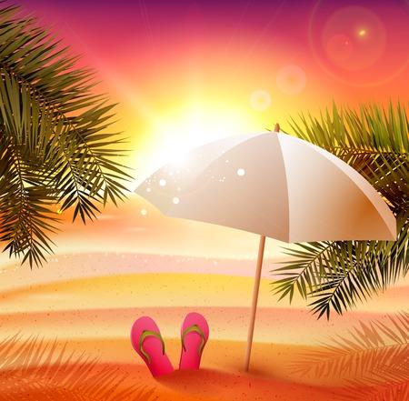 Summer sunset on the beach - vector background Illustration