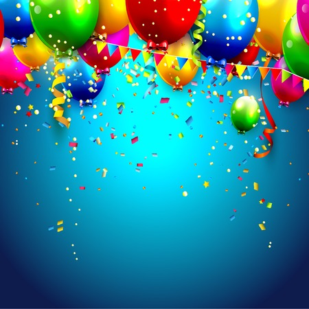 balloons: Colorful balloons and confetti - vector background