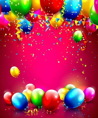 anniversaire: Ballons colorés et confettis - vecteur de fond avec la place pour votre texte Illustration