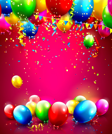 Colorful balloons and confetti - vector background with place for your text