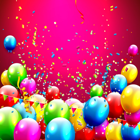 red balloons: Colorful balloons and confetti on red background