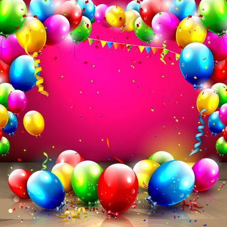 Birthday background with colorful balloons and confetti