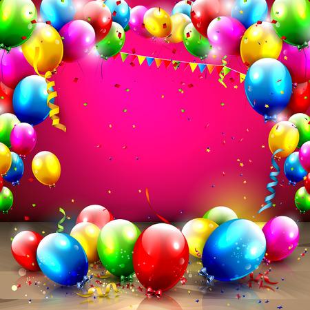 Verjaardag achtergrond met kleurrijke ballonnen en confetti Stock Illustratie