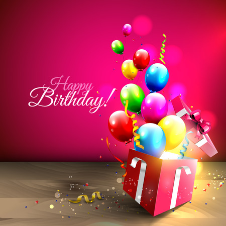 urodziny: Kolorowe balony i konfetti latające z szkatułce