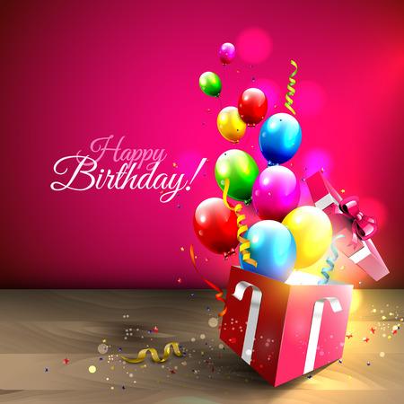 auguri di compleanno: Palloncini colorati e coriandoli che volano fuori dalla scatola regalo