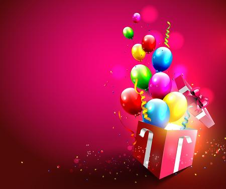 선물 상자의 밖으로 비행하는 다채로운 풍선과 색종이