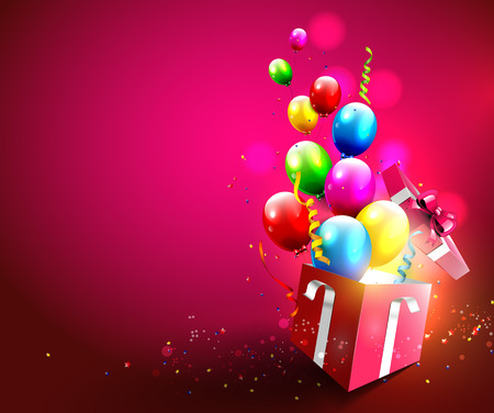 birthday decoration: Colorful balloons and confetti flying out of gift box