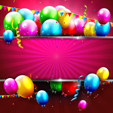 Verjaardag achtergrond met kleurrijke confetti en ballonnen en plaats voor uw tekst