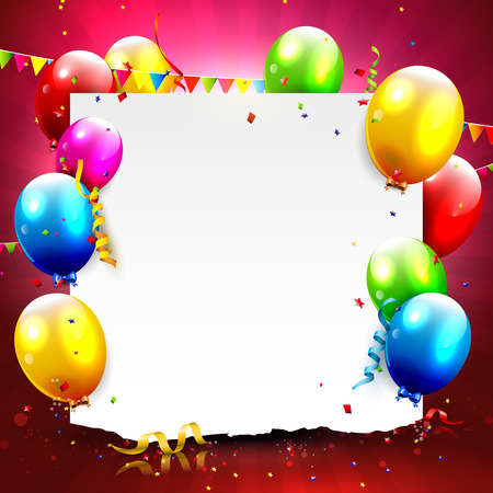 Colorful balloons and empty paper on red background Stock Illustratie
