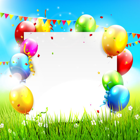 Colorful balloons and empty paper at sunny landscape