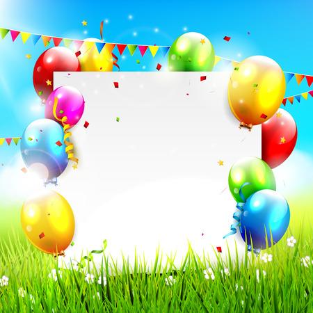 Globos de colores y papel vacío en el paisaje soleado Foto de archivo - 36888933