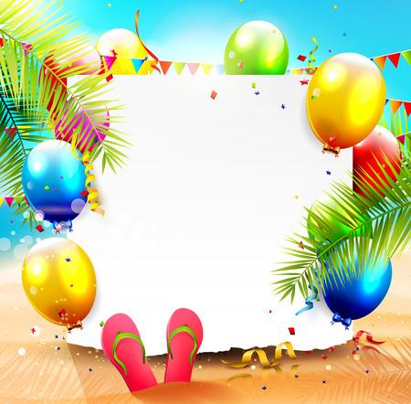sommerferien: Sommer-Strand-Party Hintergrund mit leeren Papier und bunten Luftballons auf dem Strand