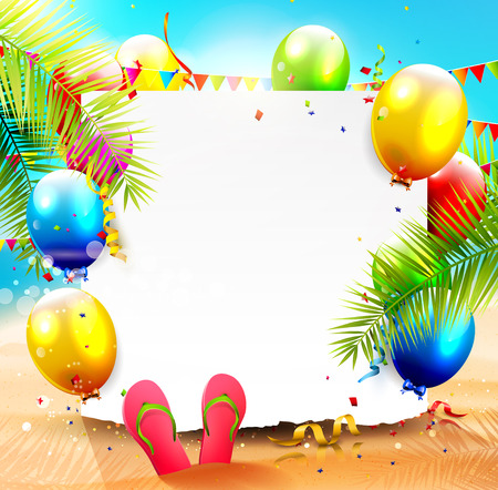Summer beach party background with empty paper and colorful balloons on the beach Ilustração