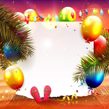 Fondo de fiesta de playa de verano con papel vacío y globos de colores en la playa