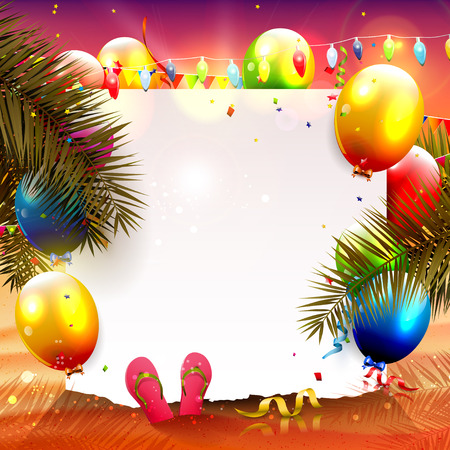 evening party: Summer beach party background with empty paper and colorful balloons on the beach Illustration