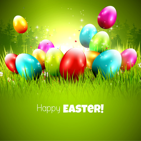 Easter greeting card with colorful eggs in the grass Illustration