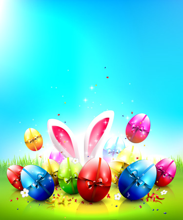 rabbits: Easter greeting card with colorful eggs and place for your text