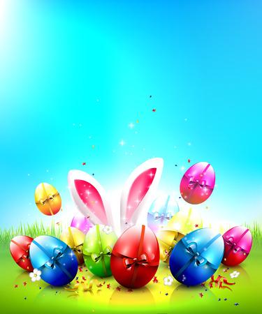 osterhase: Ostern-Gru�karte mit bunten Eiern und Platz f�r Ihren Text