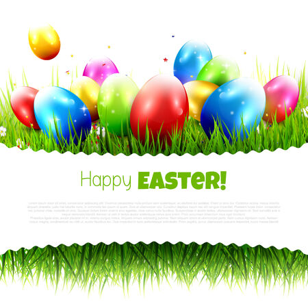 copyspace: Easter greeting card with colorful eggs in the grass and with place for your text. Isolated on white background