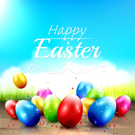lensflare: Easter greeting card with colorful eggs in the grass Illustration