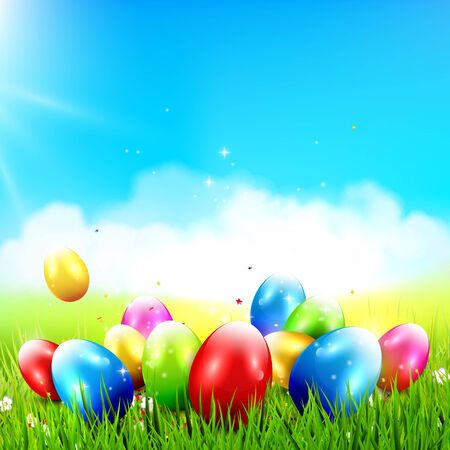 lensflare: Easter background with colorful eggs in the grass and with place for your text Illustration